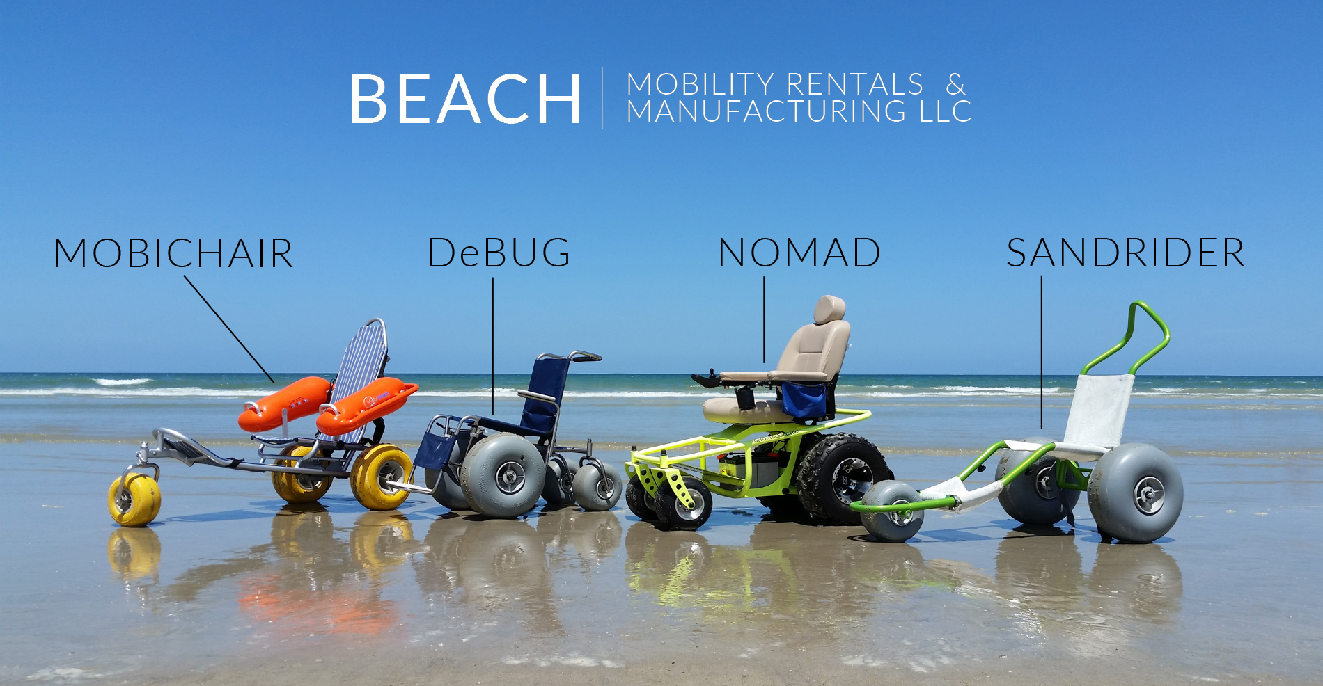 Rental pricing beach mobility rentals and manufacturing for Motorized beach wheelchair rental
